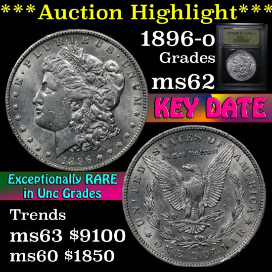 ***Auction Highlight*** Key date 1896-o Morgan Dollar $1 Graded Select Unc by USCG (fc)