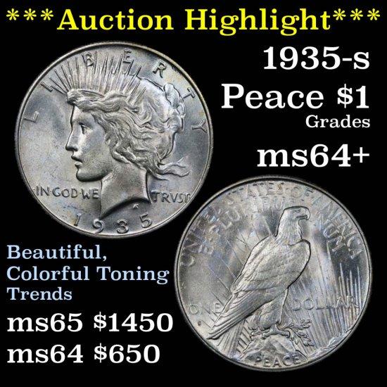 ***Auction Highlight*** 1935-s Peace Dollar $1 Grades Choice+ Unc (fc)