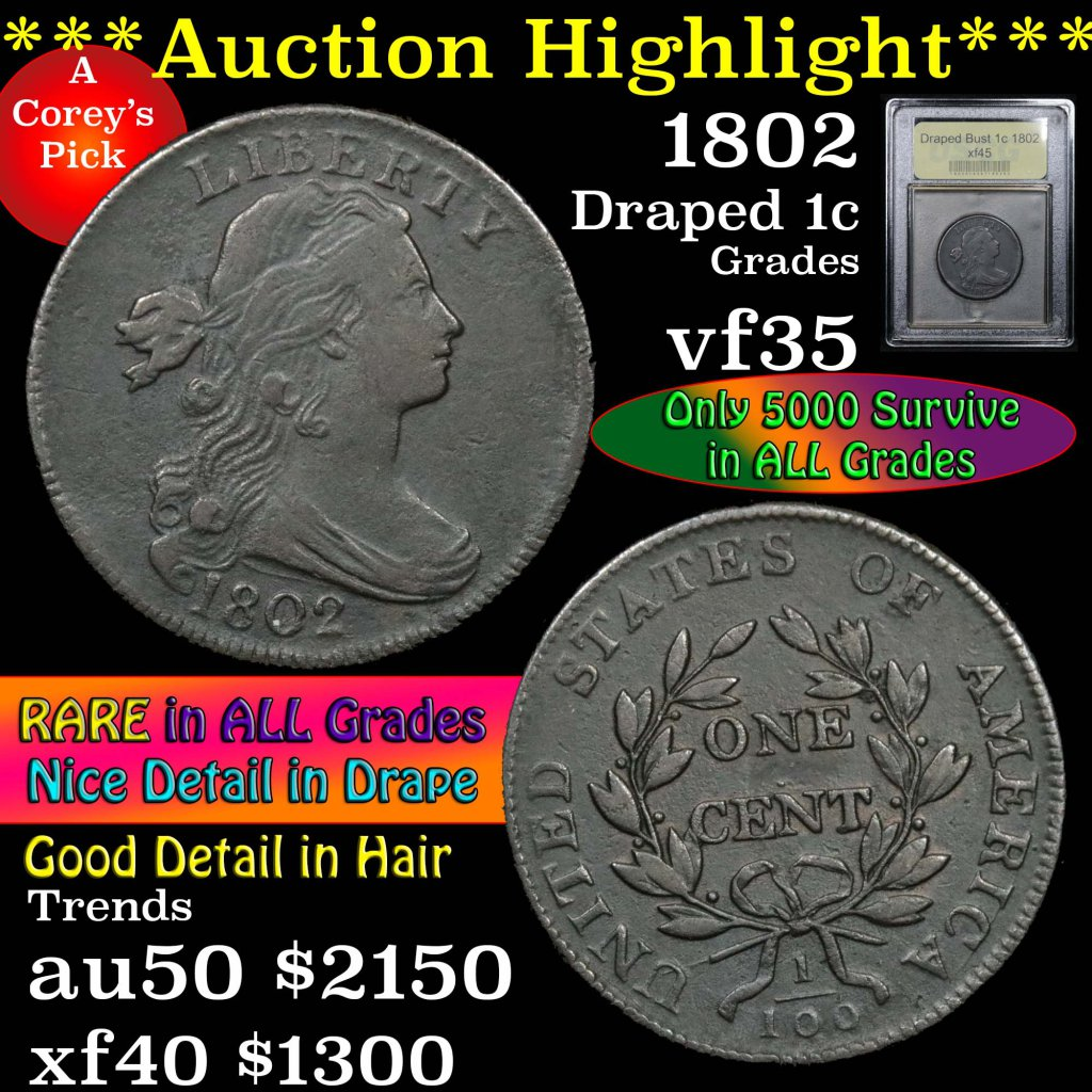 ***Auction Highlight*** 1802 Draped Bust Large Cent 1c Graded xf+ by USCG (fc)