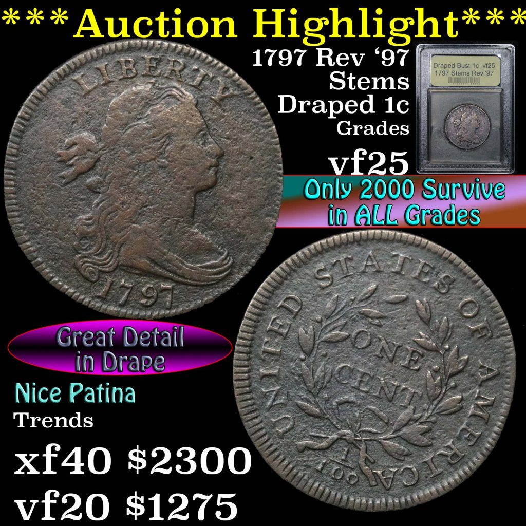 ***Auction Highlight*** 1797 Stems Rev '97 Draped Bust Large Cent 1c Graded vf+ by USCG (fc)