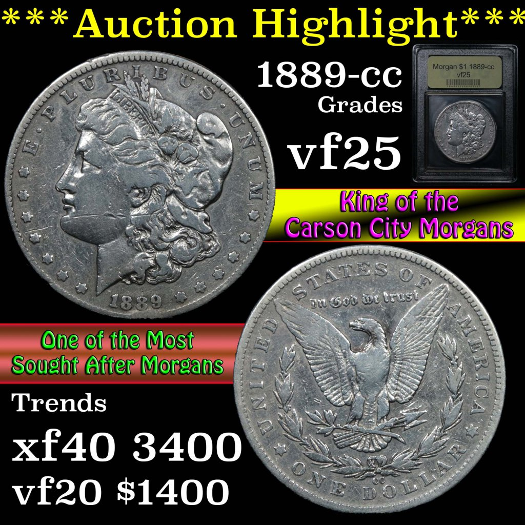 ***Auction Highlight*** 1889-cc Morgan Dollar $1 Graded vf+ by USCG (fc)