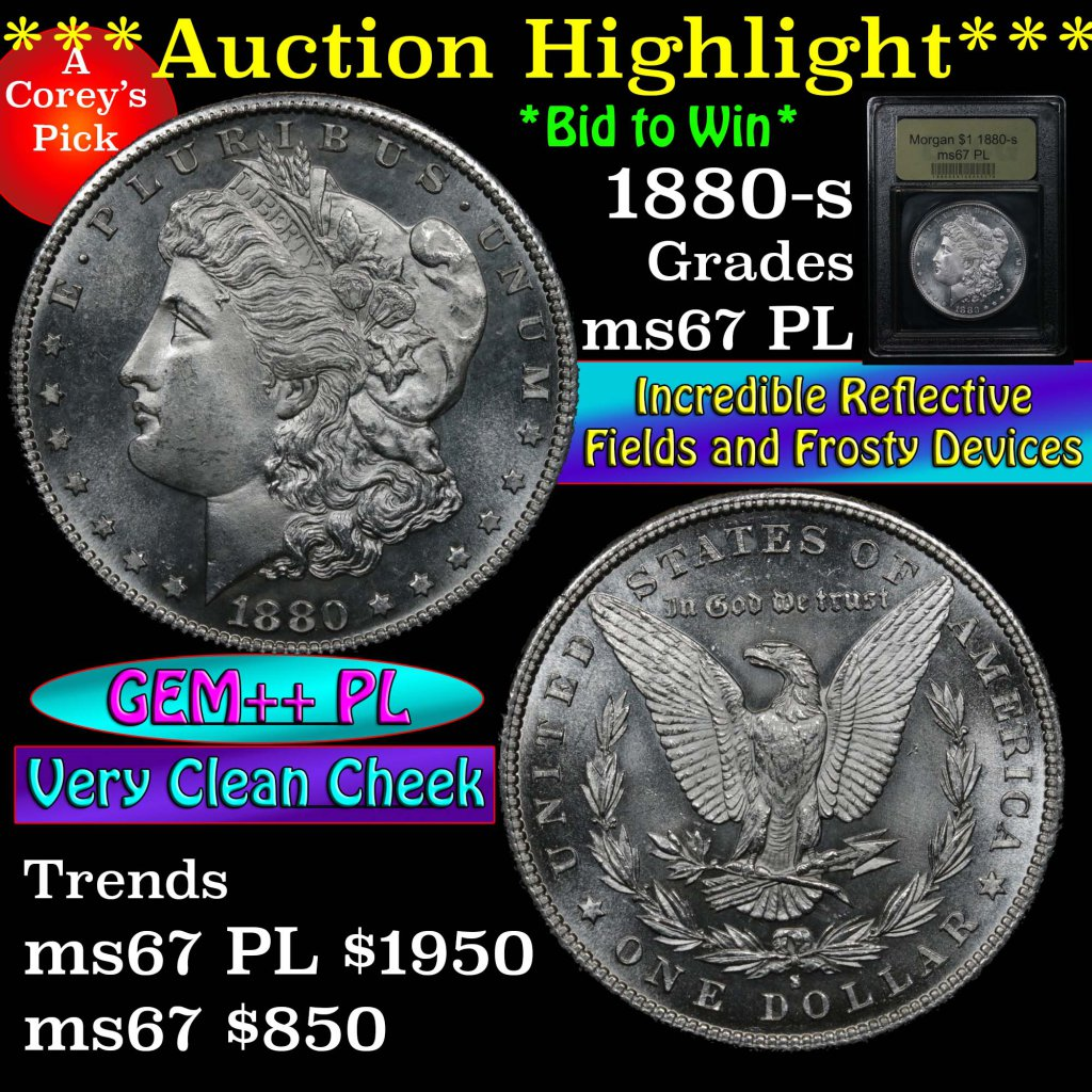 ***Auction Highlight*** 1880-s Morgan Dollar $1 Graded GEM++ PL by USCG (fc)