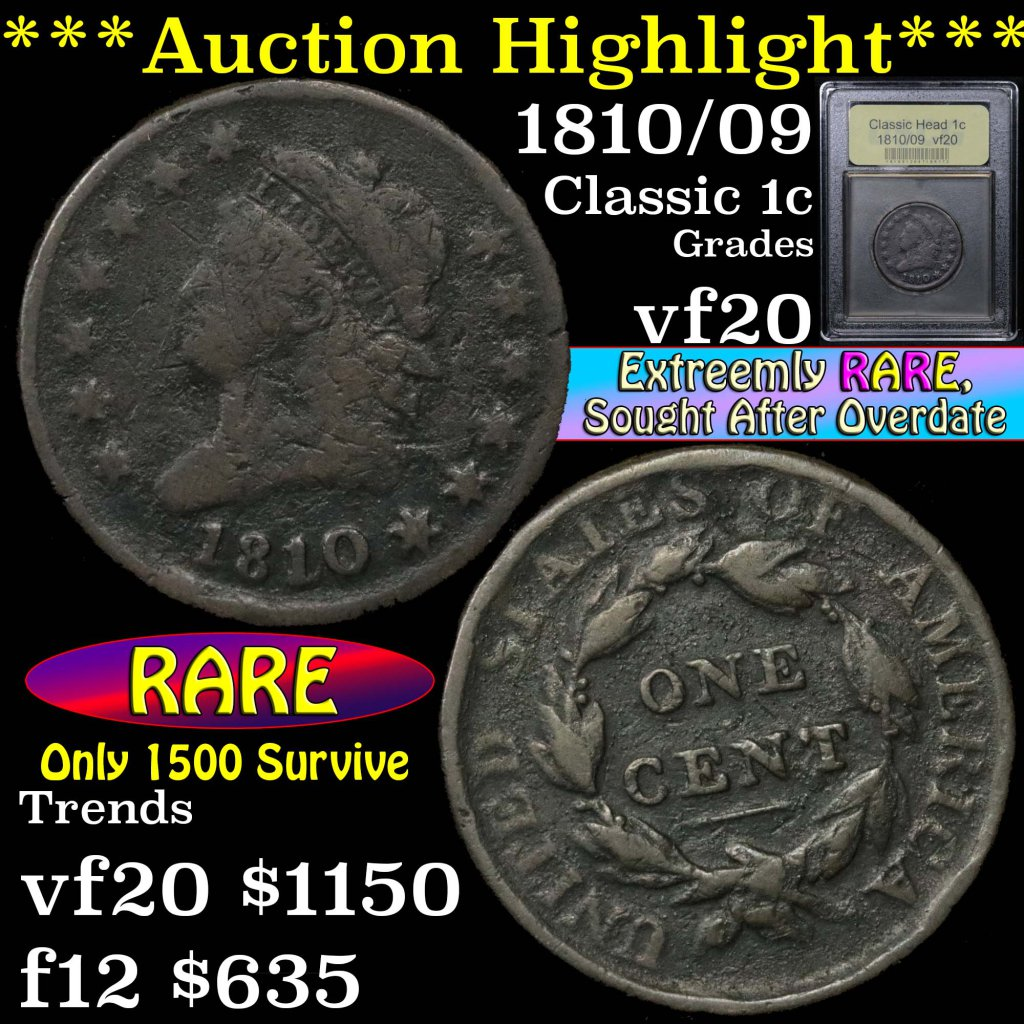 ***Auction Highlight*** 1810/09 Classic Head Large Cent 1c Graded vf, very fine by USCG (fc)