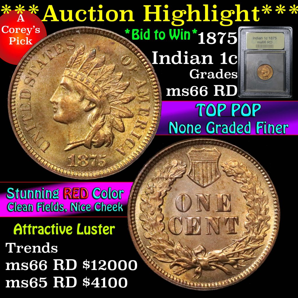 ***Auction Highlight*** 1875 Indian Cent 1c Graded GEM+ Unc RD by USCG (fc)