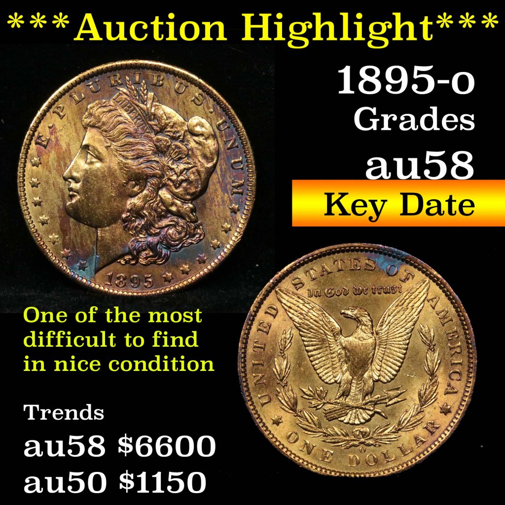 ***Auction Highlight*** Key date 1895-o Morgan Dollar $1 Grades Choice AU/BU Slider (fc)