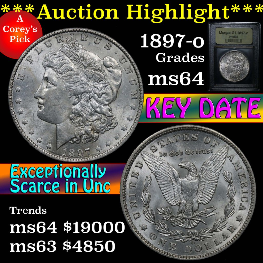 ***Auction Highlight*** 1897-o Morgan Dollar $1 Graded Choice Unc by USCG (fc)
