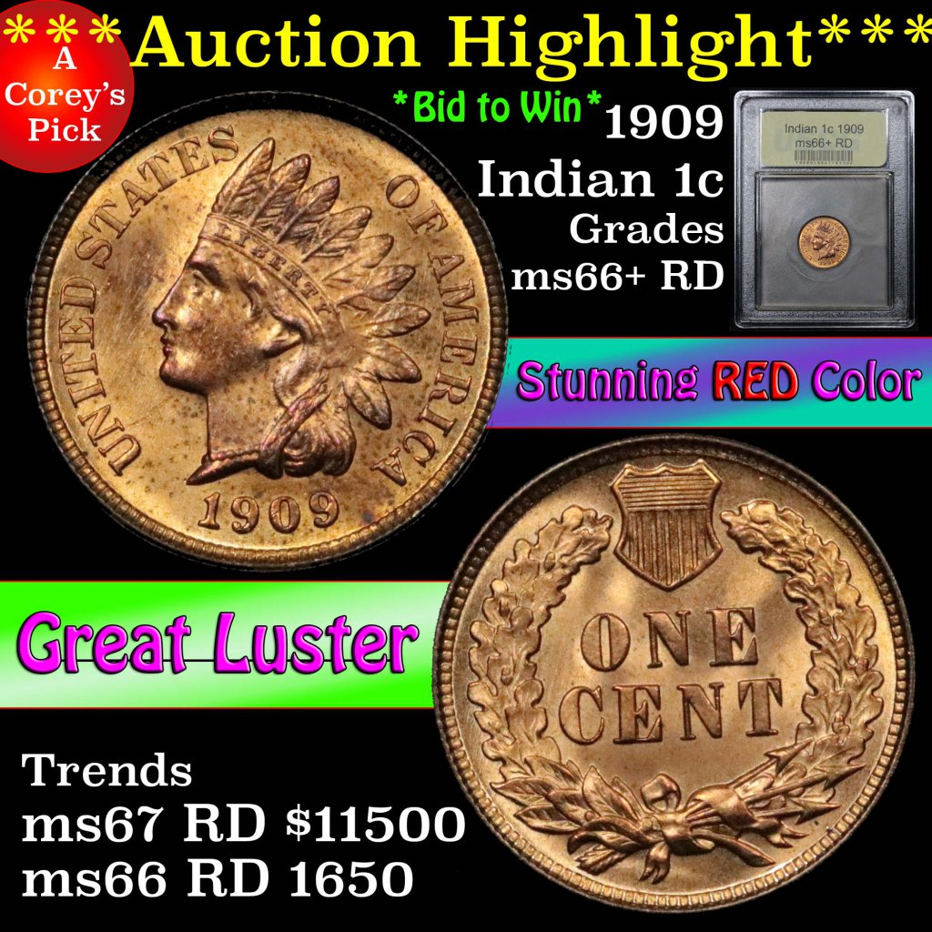 ***Auction Highlight*** 1909 Indian Cent 1c Graded GEM++ RD by USCG (fc)