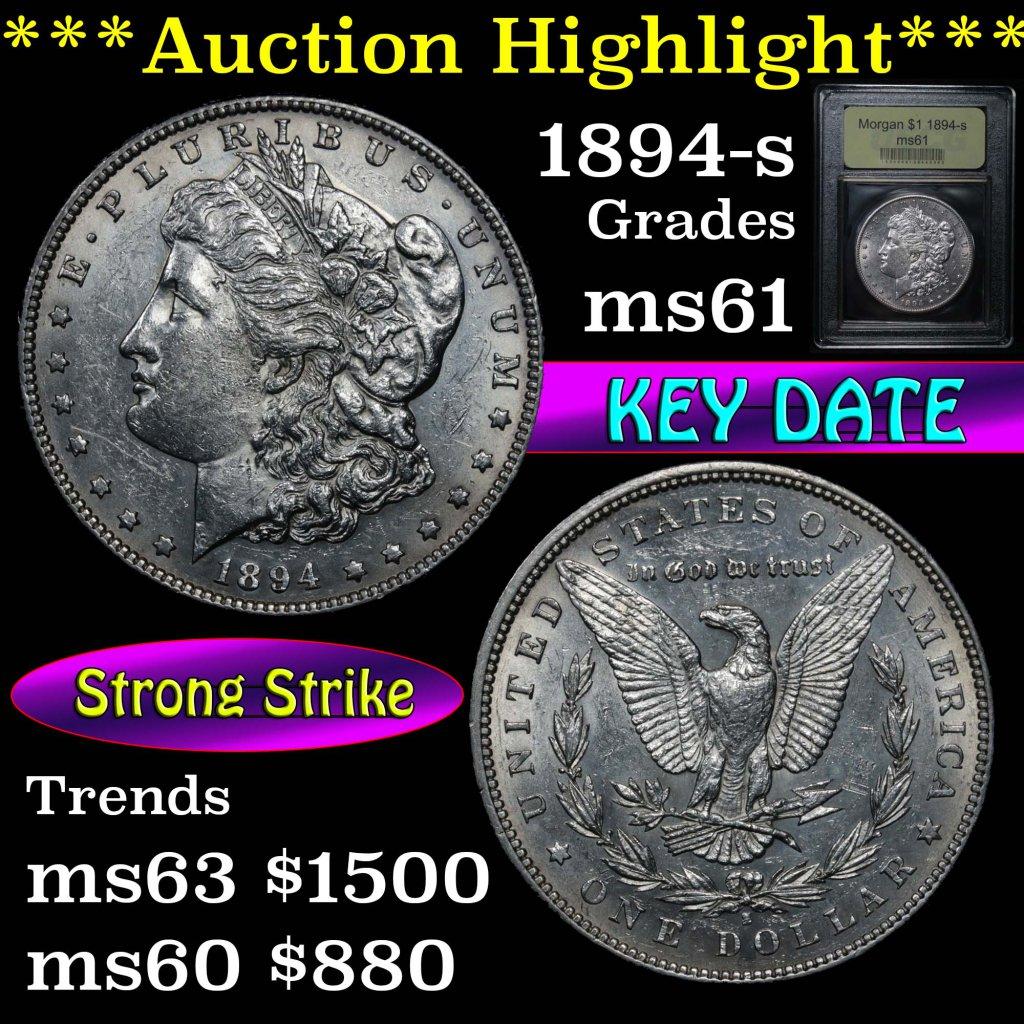***Auction Highlight*** Key date 1894-s Morgan Dollar $1 Graded BU+ by USCG (fc)
