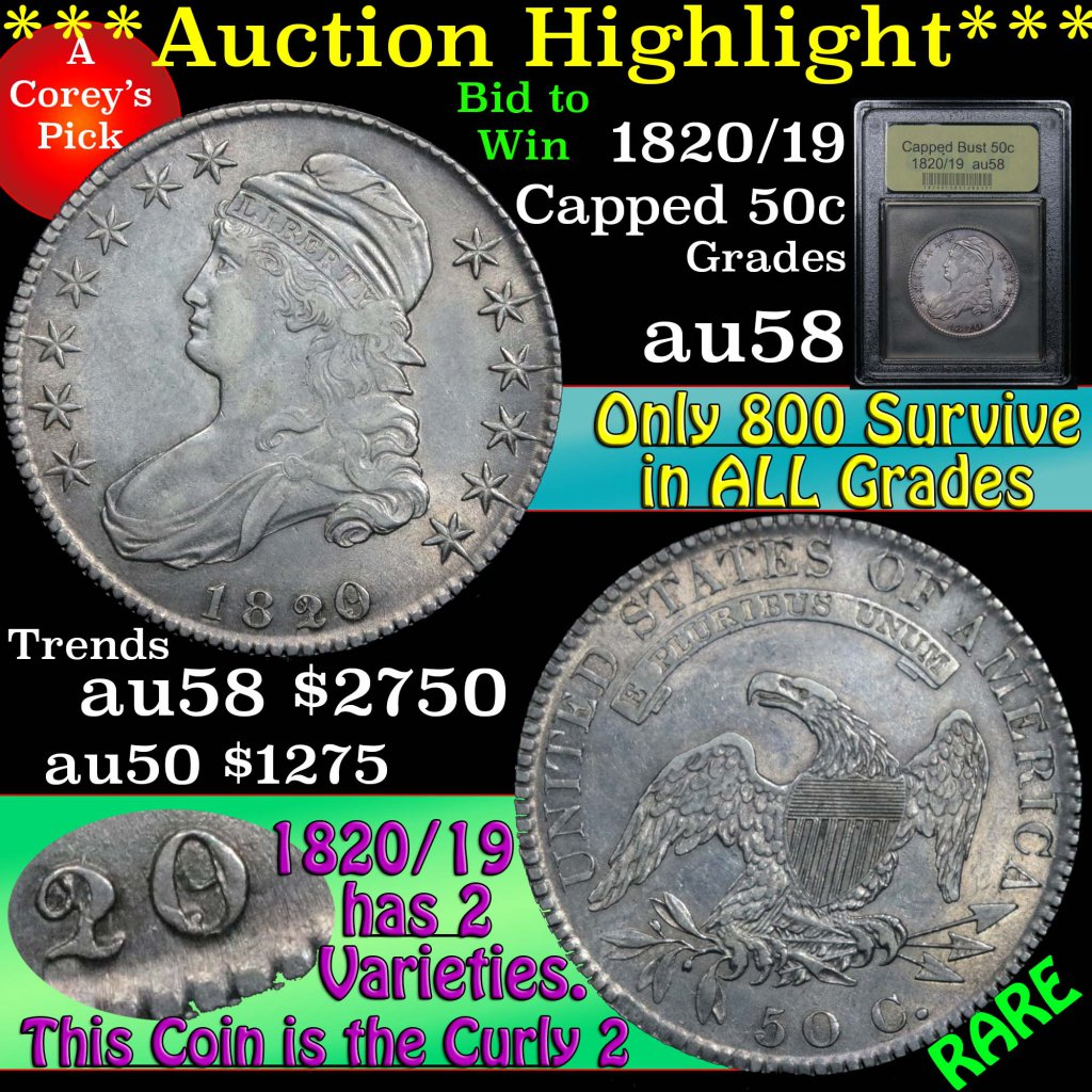 ***Auction Highlight*** 1820/19 Capped Bust Half Dollar 50c Graded Choice AU/BU Slider by USCG (fc)