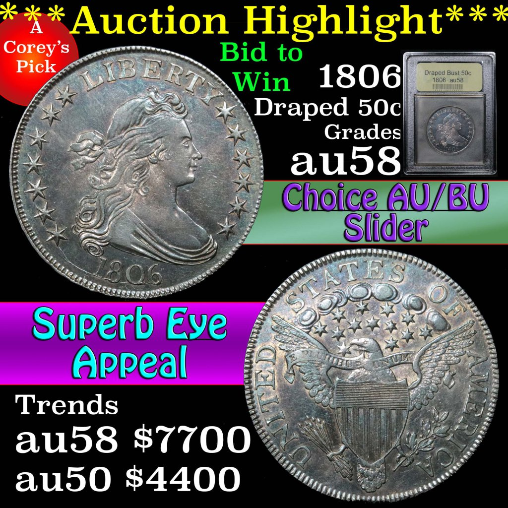 ***Auction Highlight*** 1806 Draped Bust Half Dollar 50c Graded Choice AU/BU Slider by USCG (fc)