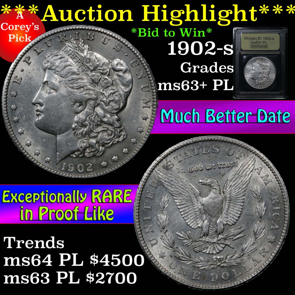 ***Auction Highlight*** 1902-s Morgan Dollar $1 Graded Select Unc+ PL by USCG (fc)
