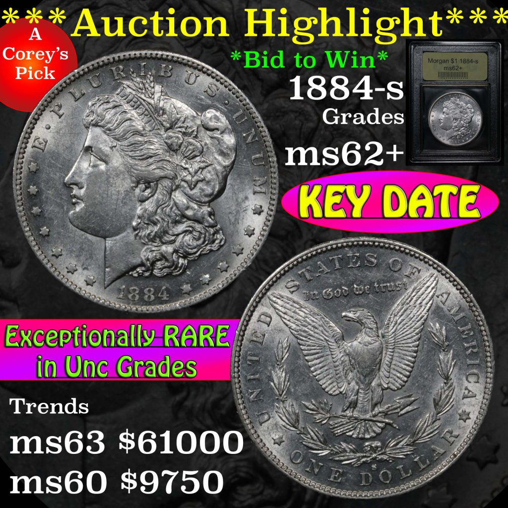 ***Auction Highlight*** Key date 1884-s Morgan Dollar $1 Graded Select Unc by USCG (fc)