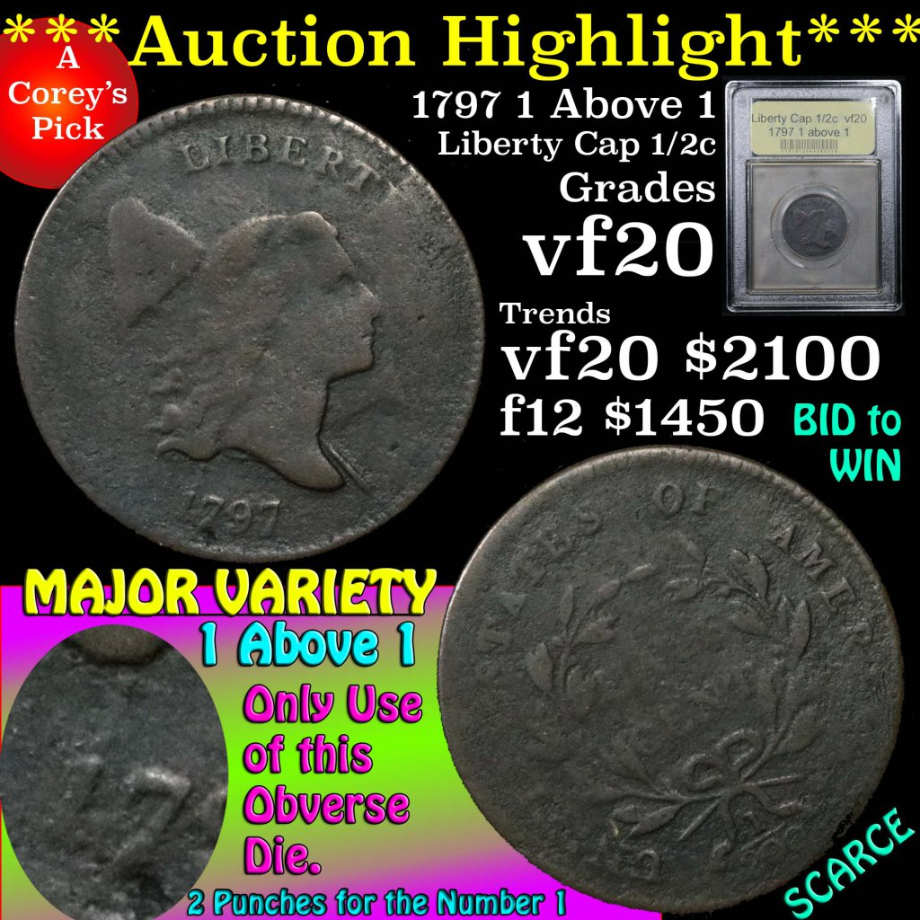 ***Auction Highlight*** 1797 1 above 1 Liberty Cap Half Cent 1/2c Graded vf, very fine by USCG (fc)