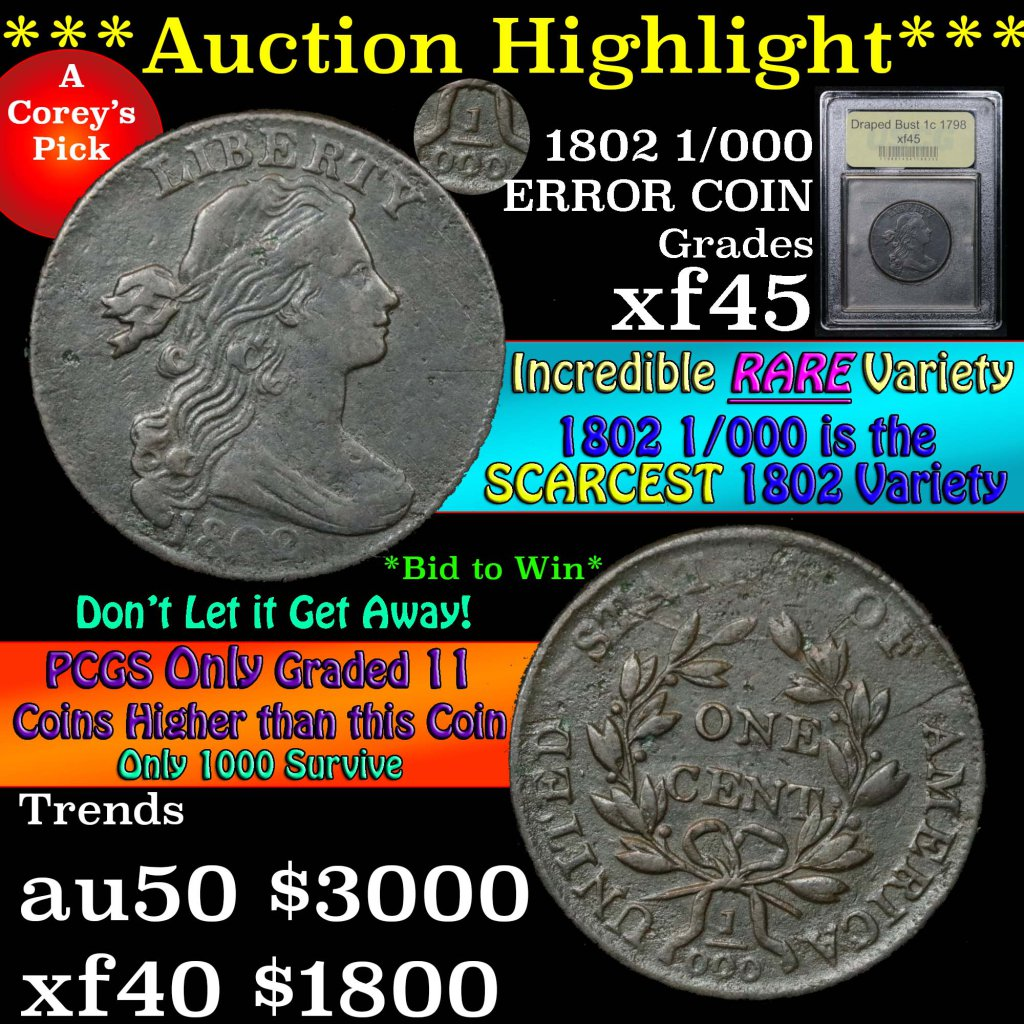 ***Auction Highlight*** 1802 1/000 Draped Bust Large Cent 1c Graded xf+ by USCG (fc)