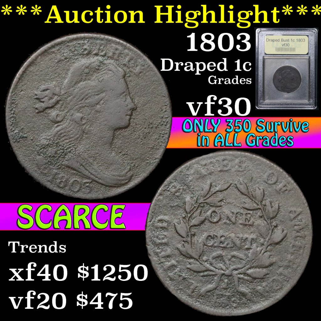 ***Auction Highlight*** 1803 Draped Bust Large Cent 1c Graded vf++ by USCG (fc)
