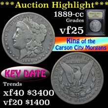 1889-cc Morgan Dollar $1 Graded vf+ by USCG (fc)