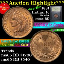 1881 Indian Cent 1c Graded GEM Unc RD by USCG (fc)