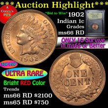 1902 Indian Cent 1c Graded GEM+ Unc RD by USCG