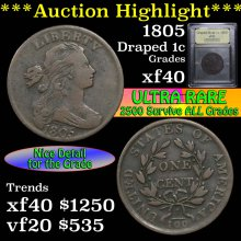 1805 Draped Bust Large Cent 1c Graded xf by USCG