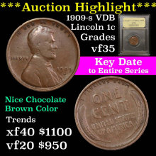 1909-s VDB Lincoln Cent 1c Graded vf++ by USCG