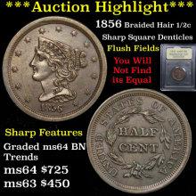 1856 Braided Hair Half Cent 1/2c Graded Choice