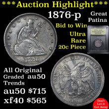 1876-p Twenty Cent Piece 20c Graded AU, Almost Unc