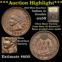 1892 Indian Cent 1c Scarface variety Graded