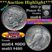 1921-p Peace Dollar $1 Graded Choice Unc by USCG