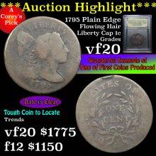 1795 plain edge Flowing Hair Liberty Cap 1c Graded