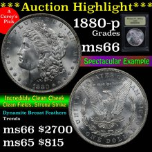 1880-p Morgan Dollar $1 Graded GEM+ Unc by USCG