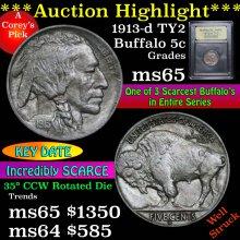 1913-d TY2 Buffalo Nickel 5c Graded GEM Unc USCG
