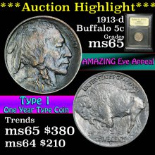 1913-d Buffalo Nickel 5c Graded GEM Unc