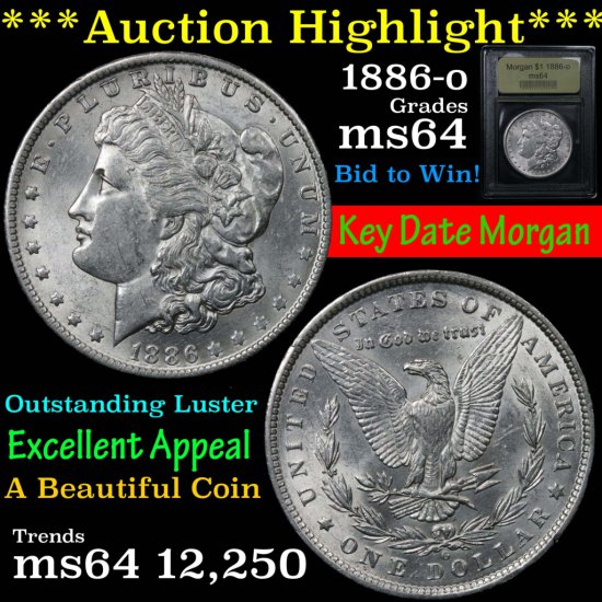 ***Auction Highlight*** 1886-o Morgan Dollar $1 Graded Choice Unc by USCG (fc)