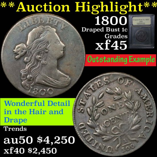 ***Auction Highlight*** 1800 Draped Bust Large Cent 1c Graded xf+ by USCG (fc)
