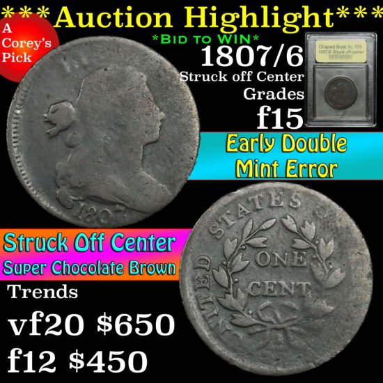 ***Auction Highlight*** 1807/6 Struck off-center Draped Bust Large Cent 1c Graded f+ by USCG (fc)
