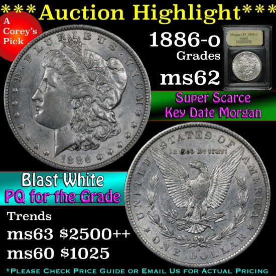 ***Auction Highlight*** Key Date 1886-o Morgan Dollar $1 Graded Select Unc by USCG (fc)
