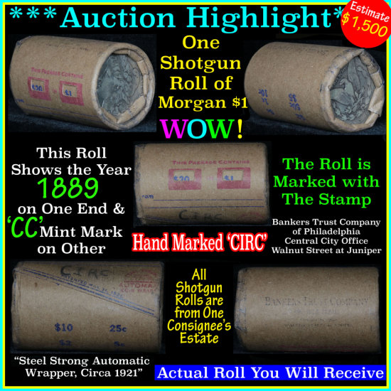 ***Auction Highlight*** Morgan dollar roll ends 1889 & 'cc', Better than average circ (fc)