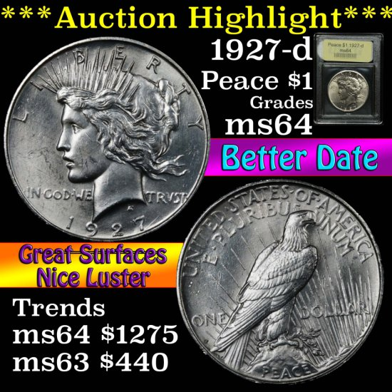 ***Auction Highlight*** 1927-d Peace Dollar $1 Graded Choice Unc by USCG (fc)