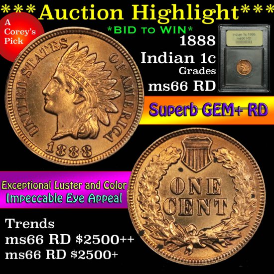 ***Auction Highlight*** 1888 Indian Cent 1c Graded GEM+ Unc RD by USCG (fc)