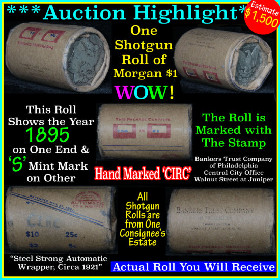 ***Auction Highlight*** Morgan dollar roll ends 1895 & 's', Better than average circ (fc)