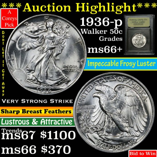 ***Auction Highlight*** 1936-p Walking Liberty Half Dollar 50c Graded GEM++ Unc by USCG (fc)