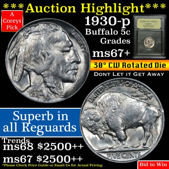***Auction Highlight*** TOP POP! 1930-p Buffalo Nickel 5c Graded Gem++ Unc by USCG (fc)