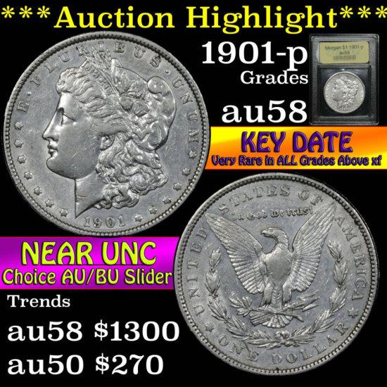 ***Auction Highlight*** Key Date 1901-p Morgan Dollar $1 Graded Choice AU/BU Slider by USCG (fc)