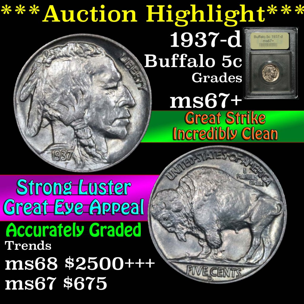 ***Auction Highlight*** 1937-d Buffalo Nickel 5c Graded Gem++ Unc by USCG (fc)