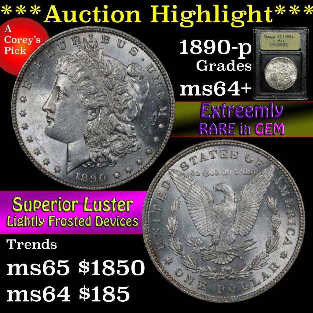 ***Auction Highlight*** 1890-p Morgan Dollar $1 Graded Choice+ Unc by USCG (fc)