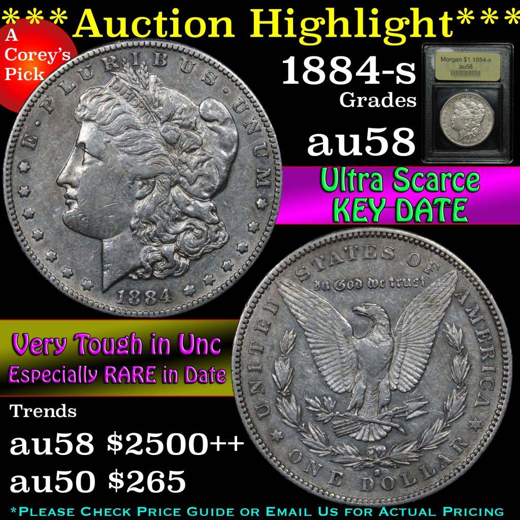 ***Auction Highlight*** Key Date 1884-s Morgan Dollar $1 Graded Choice AU/BU Slider by USCG (fc)