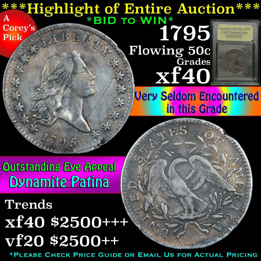 ***Auction Highlight*** 1795 Flowing Hair 50c Graded xf by USCG (fc)