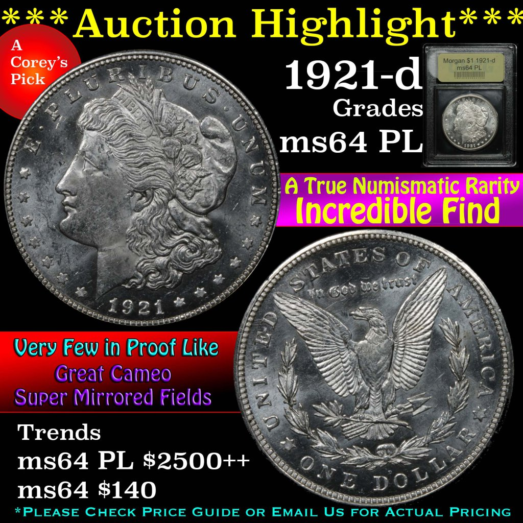 ***Auction Highlight*** 1921-d Morgan Dollar $1 Graded Choice Unc PL by USCG (fc)