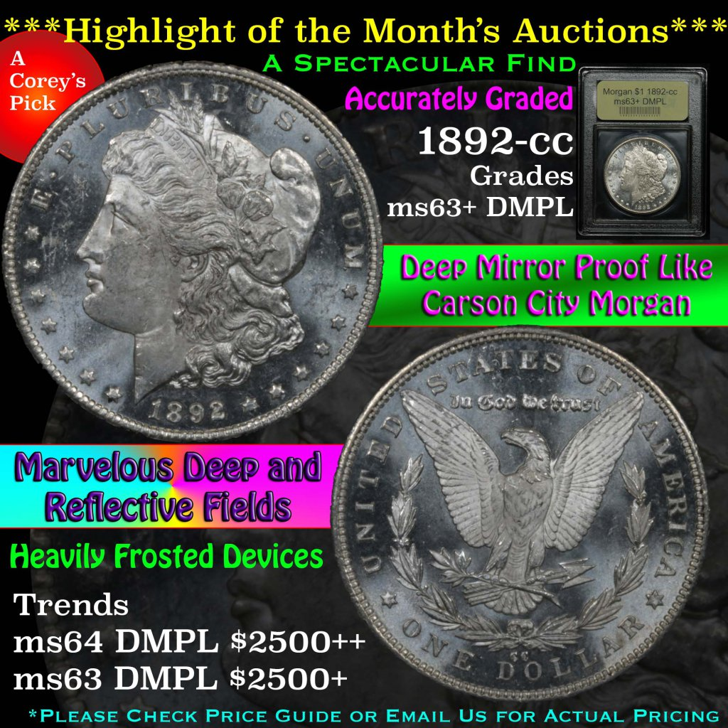 **Auction Highlight** Key Date 1892-cc Morgan Dollar $1 Graded Select Unc+ DMPL by USCG Scarce (fc)