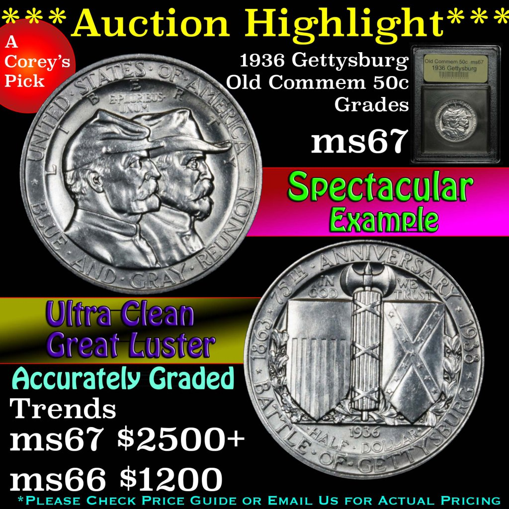 ***Auction Highlight*** 1936 Gettysburg Old Commem Half Dollar 50c Graded GEM++ Unc by USCG (fc)